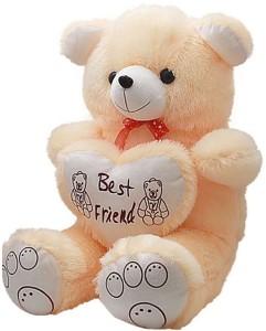 Manoj Enterprises Fashionble Gift Soft Stuff Teddy Bear With Heart 60 Cm Cream Color  - 14 inch