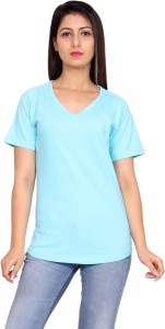 Anchy Solid Women's V-neck Light Blue T-Shirt