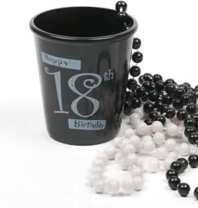 Funcart Happy 18 Birthday shot glass necklace-BLACK Plastic Mug