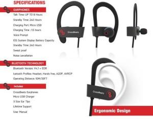 98e2a972a13 CROSSBEATS RAGA V2 Wireless Headphones bluetooth HeadphonesBlack, In the Ear