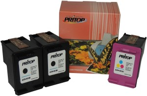 Pritop 803 (2 Black & 1 Color) Ink Cartridge for HP Deskjet 1112 Printer,2131 All-in-One Printer,2132 All-In-One Printer Single Color Ink