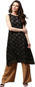 8842dce86c0 Libas Printed Women s Straight Kurta Black Gold Best Price in India ...