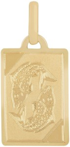 TBZ TheOriginal Pisces Horoscope 14kt Yellow Gold Pendant