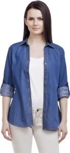 Ladybird Women's Solid Casual Denim Blue Shirt