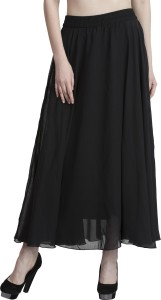 Fabrify Solid Women's Regular Black Skirt