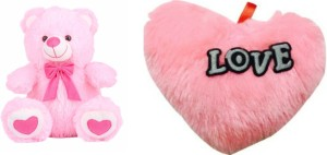 Kashish Trading Company KTC PInk Teddy Bear 12 Inch And Get A Free Pink Color Dill 10 Inch  - 12 inch
