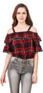 BrandMeUp Party Noodle strap Checkered Women's Red Top