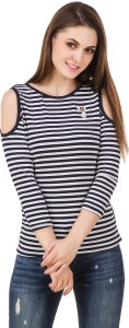 BrandMeUp Casual 3/4th Sleeve Striped Women's Multicolor Top