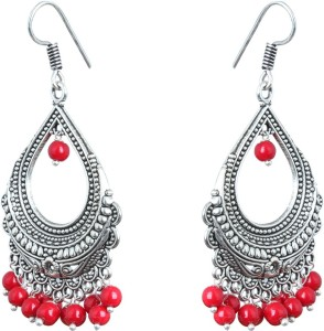 Waama Jewels Elegant Pair Of Red Color Pearl Silver Plated Bali Dangle & Drop Perfect For All Occasions Pearl Brass Drop Earring
