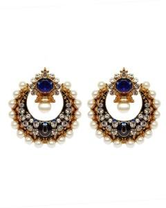 moKanc Bollywood Big Kundan Enamel Hoop Earring
