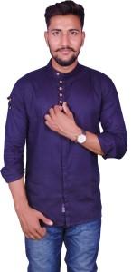 Duenite Men's Solid Casual Blue Shirt