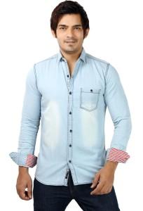 SHADE-45 Men's Solid Casual Denim Light Blue Shirt