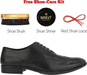d07f3b4dc47 Brigit Brogue Shoes Black Lace Up Black Best Price in India