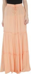 MansiCollections Solid Women's Broomstick Orange Skirt