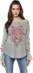 Taurus Casual Full Sleeve Embroidered Women's Multicolor Top
