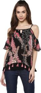 Taurus Casual Short Sleeve Floral Print Women's Black Top