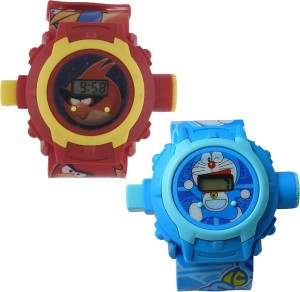Shanti Enterprises Combo Angry Bird and Doraemon 24 Images Projector Watch Digital Watch  - For Boys