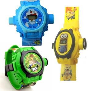 Shanti Enterprises Doraemon,Ben 10 and Minions 24 Images Projecter Watch (Set Of 3) Digital Watch  - For Boys