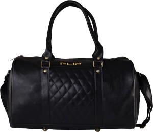 FLIP Black Faux Leather Duffle Bag Gym Bag