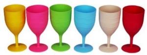 Funcart Multi color Wine Glasses (pack of 6) Plastic Mug