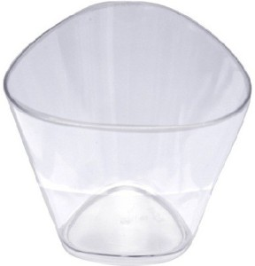 Ezee Party Disposable Triangle Shaped Small Plastic Mousse Cup 60 ml 20 Pieces Plastic Disposable Bowl Set