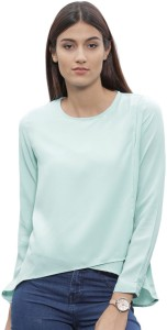 ether Casual Full Sleeve Solid Women's Blue Top