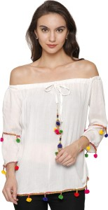 Stylome Casual 3/4th Sleeve Solid Women's Multicolor Top