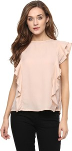 Miss Chase Casual Sleeveless Solid Women's Beige Top