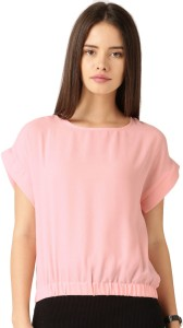 ether Casual Short Sleeve Solid Women's Pink Top