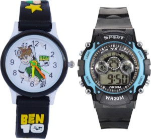Creator Ben-10 Black Designer Round Dial And Sports(Random Colours Available) Analog-Digital Watch  - For Boys & Girls
