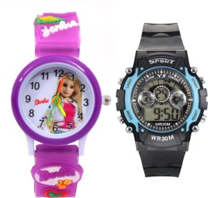 Creator Barbie Round Dial And Sports(Random Colours Available) Analog-Digital Watch  - For Boys & Girls