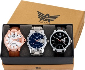 Abrexo Abx-7030 unique combo of 3 Day and Date Watches Analog-Digital Watch  - For Men