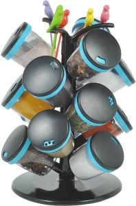 Shubheksha 15 Pcs Modern Spice Rack (Blue)  - 100 ml Plastic Spice Container