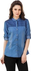 Trendyfrog Girls Embroidered, Solid Casual Denim Blue Shirt