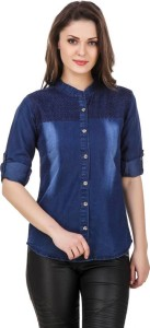 Trendyfrog Girls Solid, Embroidered Casual Denim Blue Shirt