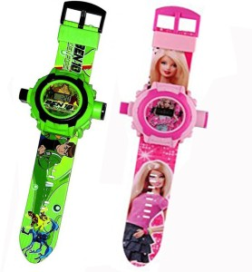 Fashion Gateway Ben 10 and Barbie, 24 Image Project Digital Watch for Kids Green::Pink Digital Watch  - For Boys & Girls