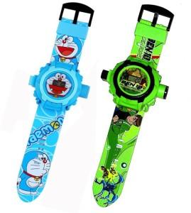 Fashion Gateway Ben 10 and Doraemon, 24 Image Project Digital Watch for Kids Green::Blue Digital Watch  - For Boys & Girls