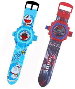 Fashion Gateway Spiderman and Chota Bheem, 24 Image Project Digital Watch for Kids Red::Blue Digital Watch  - For Boys & Girls