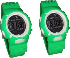 Fashion Gateway Kids Digital watch Green, pack of 2 Green Digital Watch  - For Boys & Girls