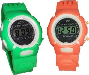 Fashion Gateway Kids Digital watch Green and Orange, pack of 2 Green::Orange Digital Watch  - For Boys & Girls