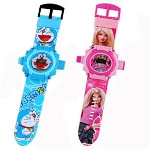 Fashion Gateway Doraemon and Barbie, 24 Image Project Digital Watch for Kids Blue::Pink Digital Watch  - For Boys & Girls