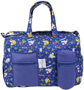 MomToBe Blue Kitty Printed Diaper Bag