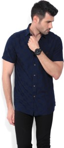 Wills Lifestyle Men Checkered Casual Blue Shirt
