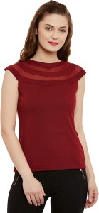Miss Chase Casual Dolman Sleeve Solid Women's Maroon Top