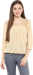 Mayra Party 3/4th Sleeve Solid Women's Beige Top