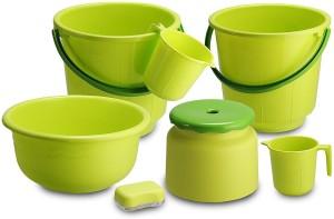 Shrih 7 Piece Green Bathroom Set 25 L Plastic Bucket