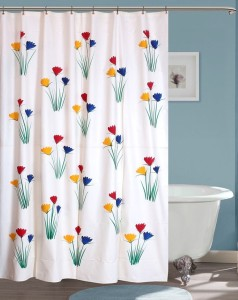 Yellow Weaves PVC Multicolor Floral Curtain Shower