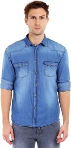 Dennis Lingo Men's Solid Casual Denim Blue Shirt