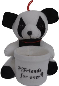 Joy Mart Stuffed Soft Toy Panda Friends Forever with pen Holder stand Black and White color  - 16 cm