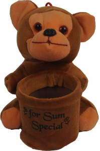 Joy Mart Stuffed Soft Toy Monkey For Sum Special with pen Holder stand Brown color  - 16 cm